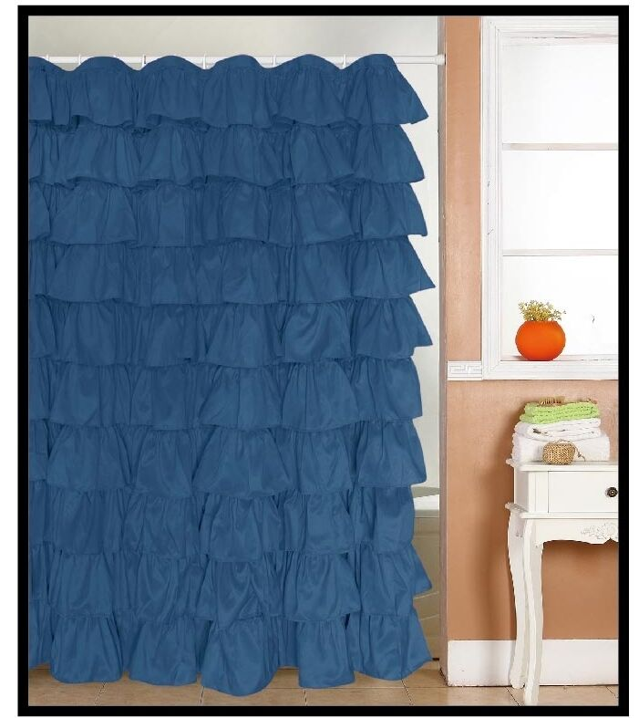 Flamenco Ruffle Shower Curtain Color Navy Blue 693529389031