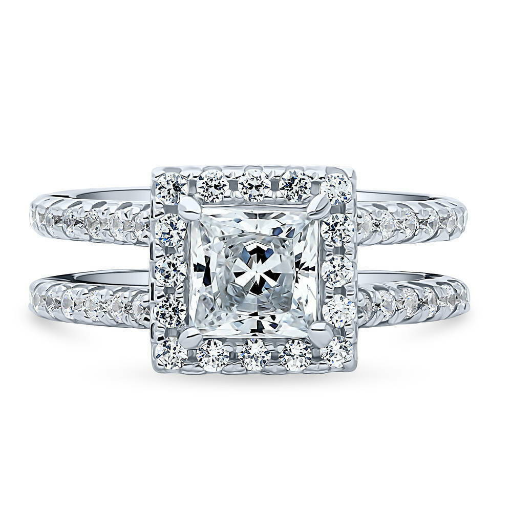 e54969971062 Details about BERRICLE Sterling Silver Princess Cut CZ Halo Engagement Ring  2.04 Carat