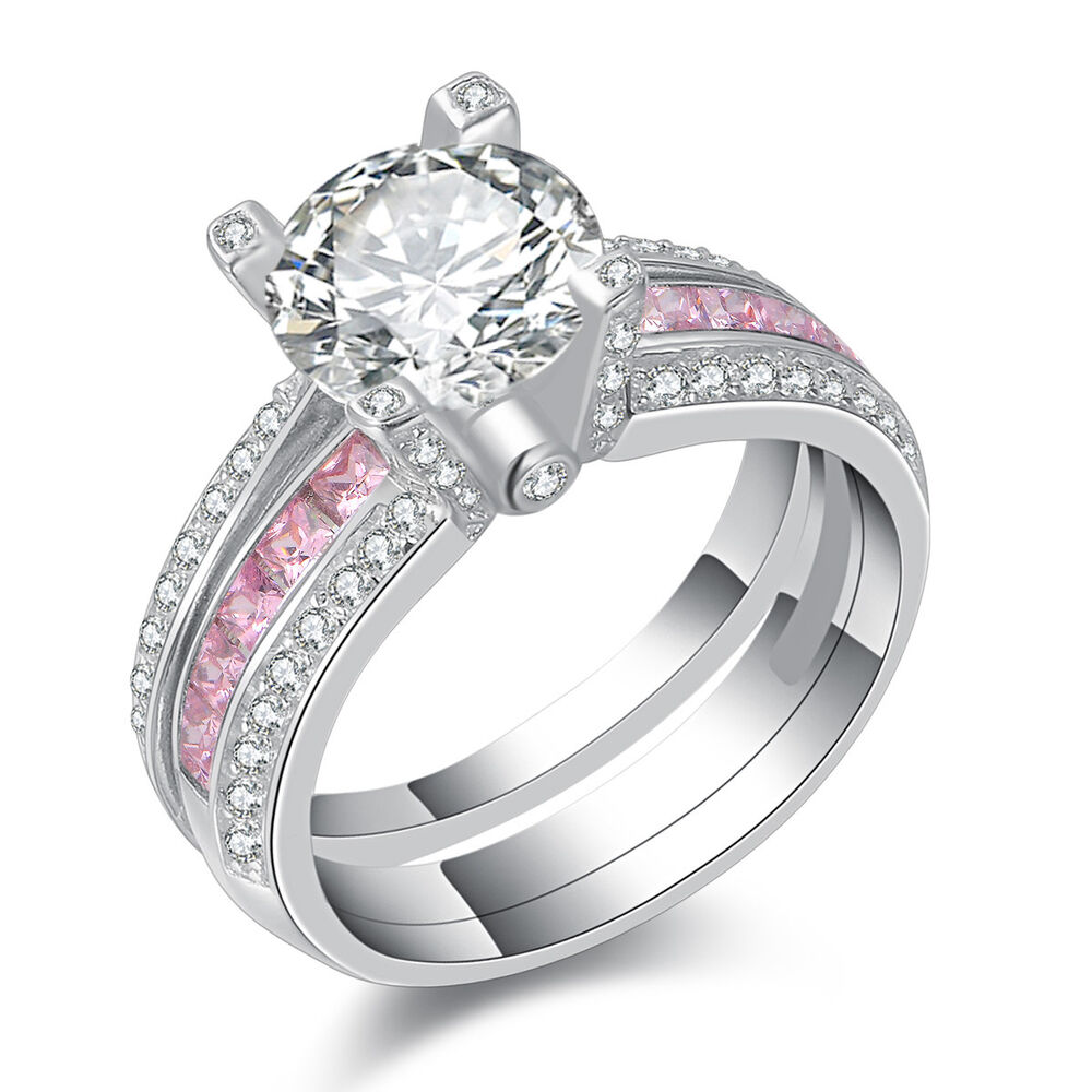 round pink sapphire white cz 925 sterling silver wedding. Black Bedroom Furniture Sets. Home Design Ideas