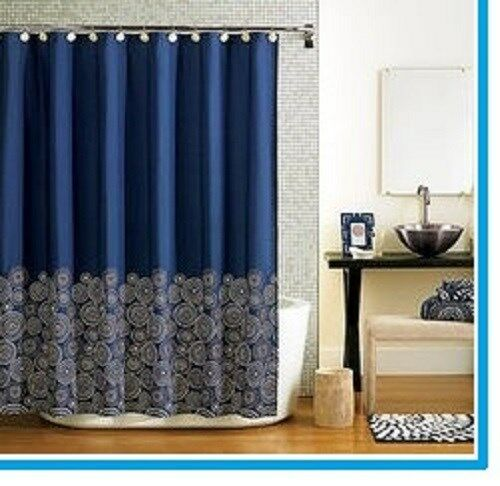 Fabric Navy Blue Fabric Shower Curtain EBay