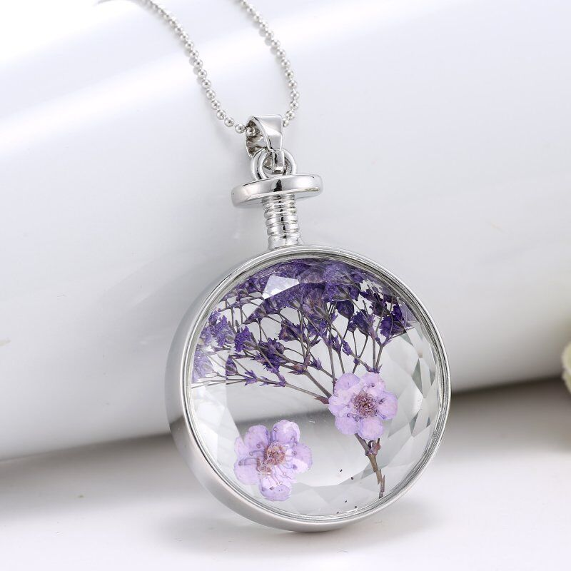 unique purple dried real flower clear glass locket pendant