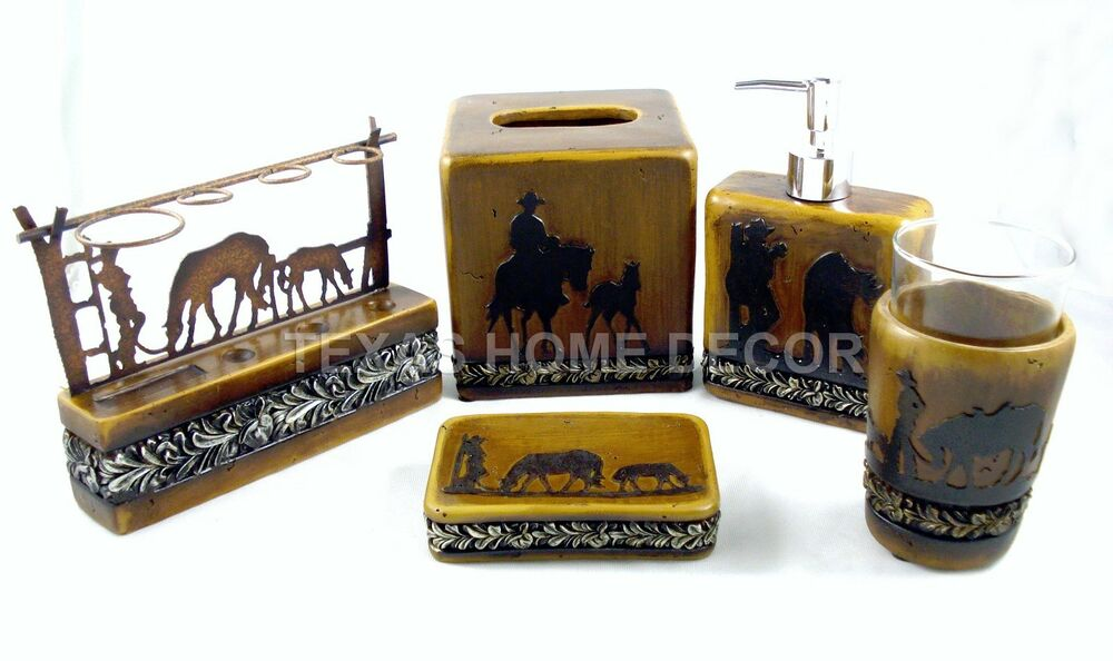rustic cowboy bathroom accessory 5 set silver
