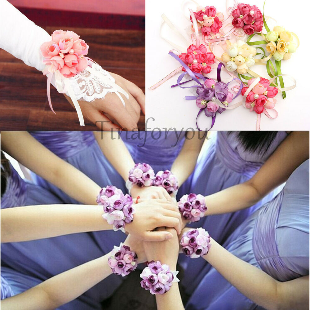 Wrist Corsages Wedding: Wedding Silk Bridal Bridesmaid HandMade Bouquet Hand