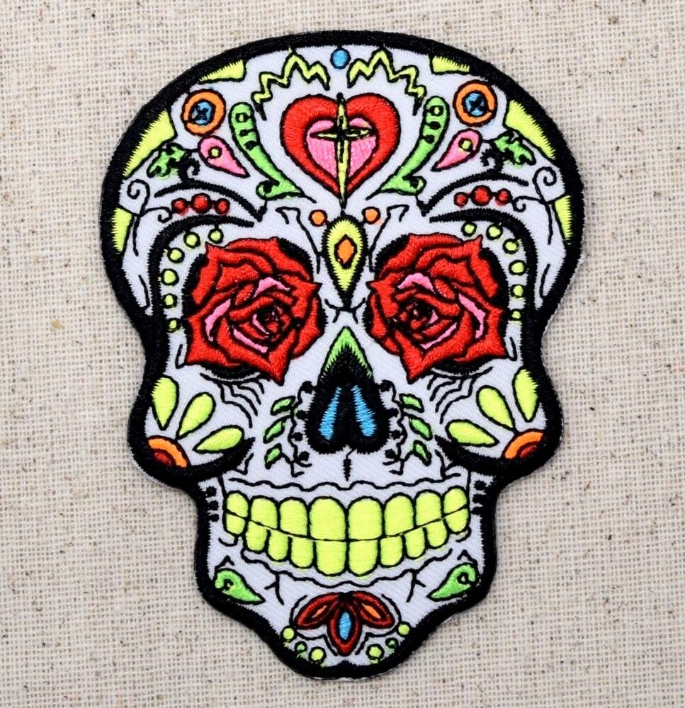 (Iron On Embroidered Applique Patch) White Sugar Skull ...