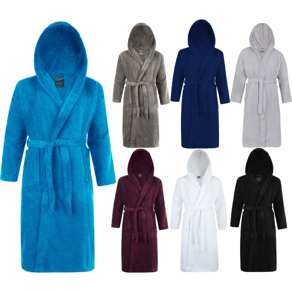 Men S Dressing Gowns: Mens & Ladies 100% Cotton Terry Towelling Hooded Shawl