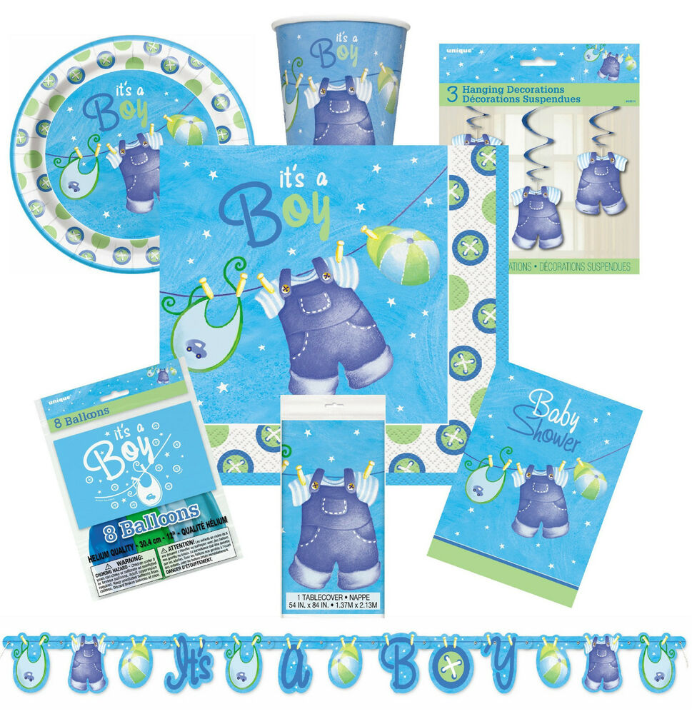 Blue clothesline boy baby shower decorations tableware for Baby clothesline decoration