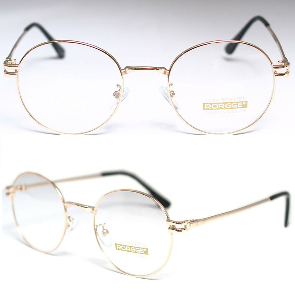 Mens Round Wire Frame Glasses : New Gold Round Metal Frame Men Women Nerd Glasses Clear ...