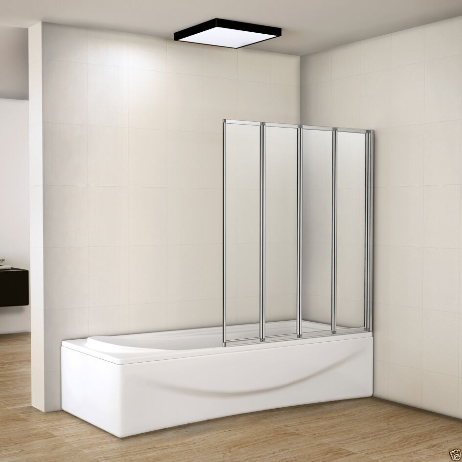 Aica 1000x1400mm 4 Fold Folding Bath Shower Screen Matt