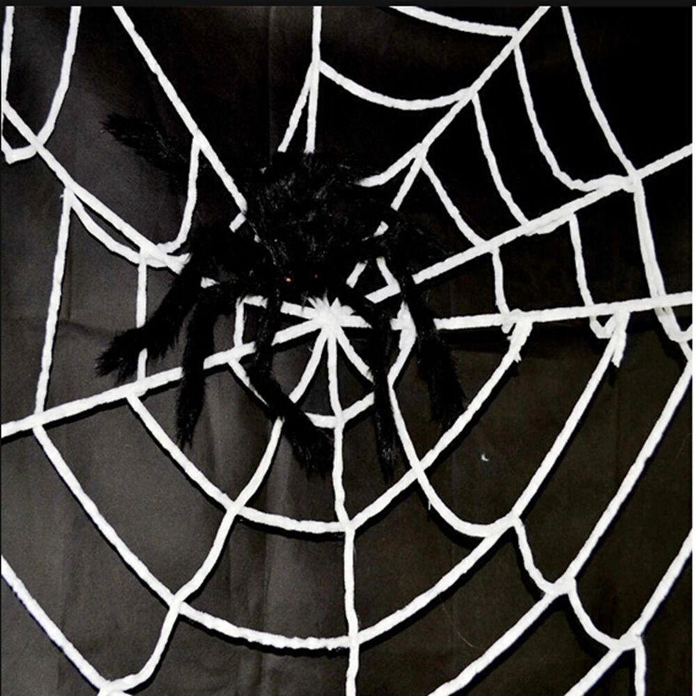 giant 4 9ft gid halloween spiders webbing spider web decoration ebay. Black Bedroom Furniture Sets. Home Design Ideas