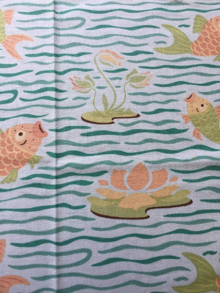 Rpa719 goldfish pond lily pads koi fish sheri berry cotton for Koi pond quilt pattern