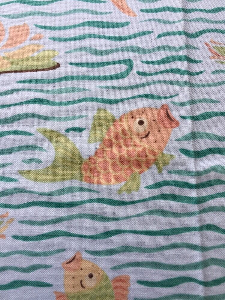 Rpa717 goldfish pond lily pads koi fish sheri berry cotton for Fish fabric for quilting