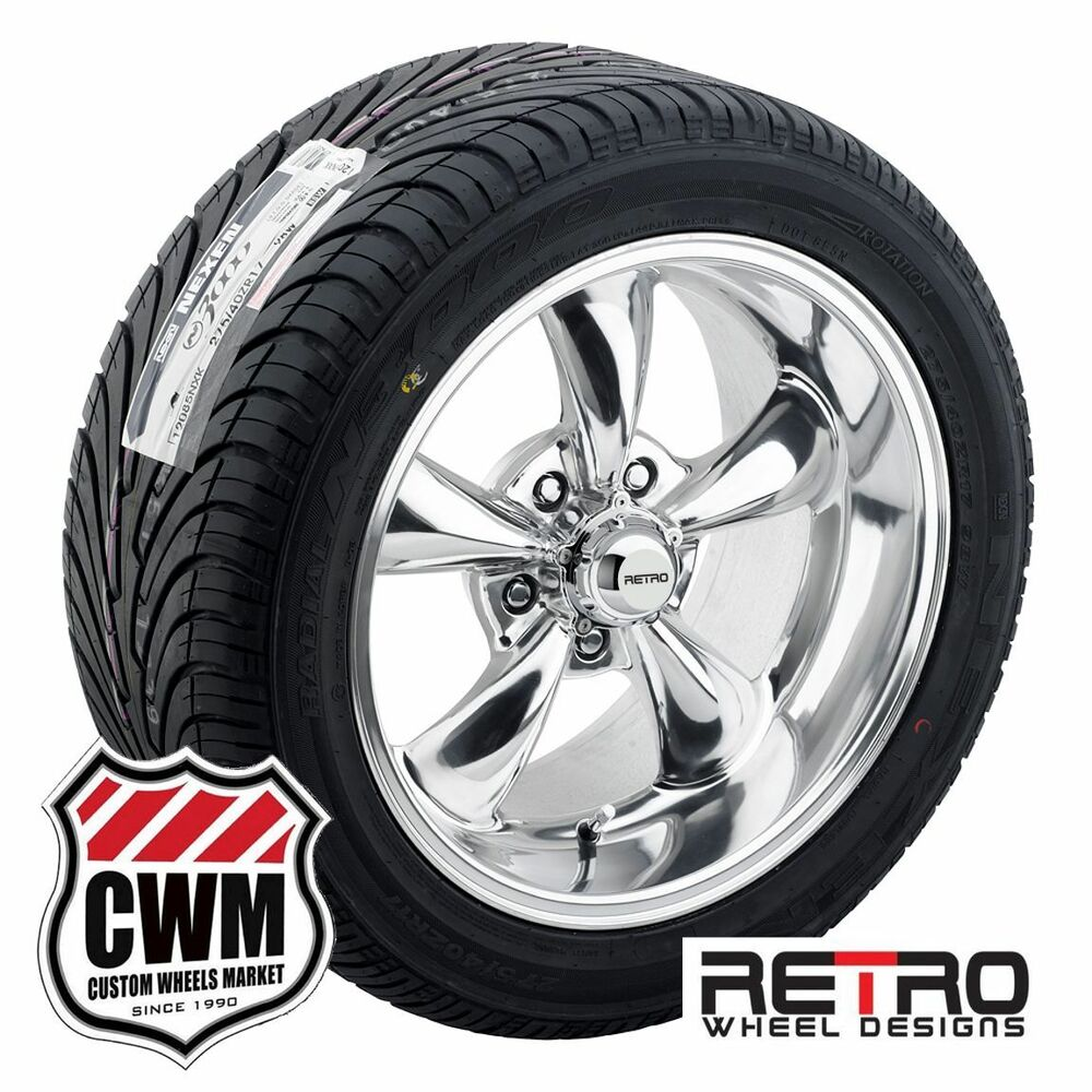 17x8 Quot 17x9 Quot Retro Staggered Polished Wheels Rims Tires For