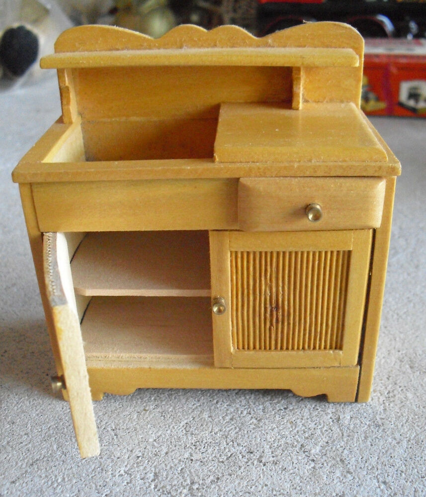 Vintage wood dollhouse furniture kitchen cabinet ebay Dollhouse wooden furniture