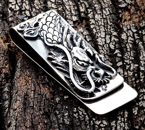 Engraved Dragon Solid 925 Sterling Silver Money Clip Bill