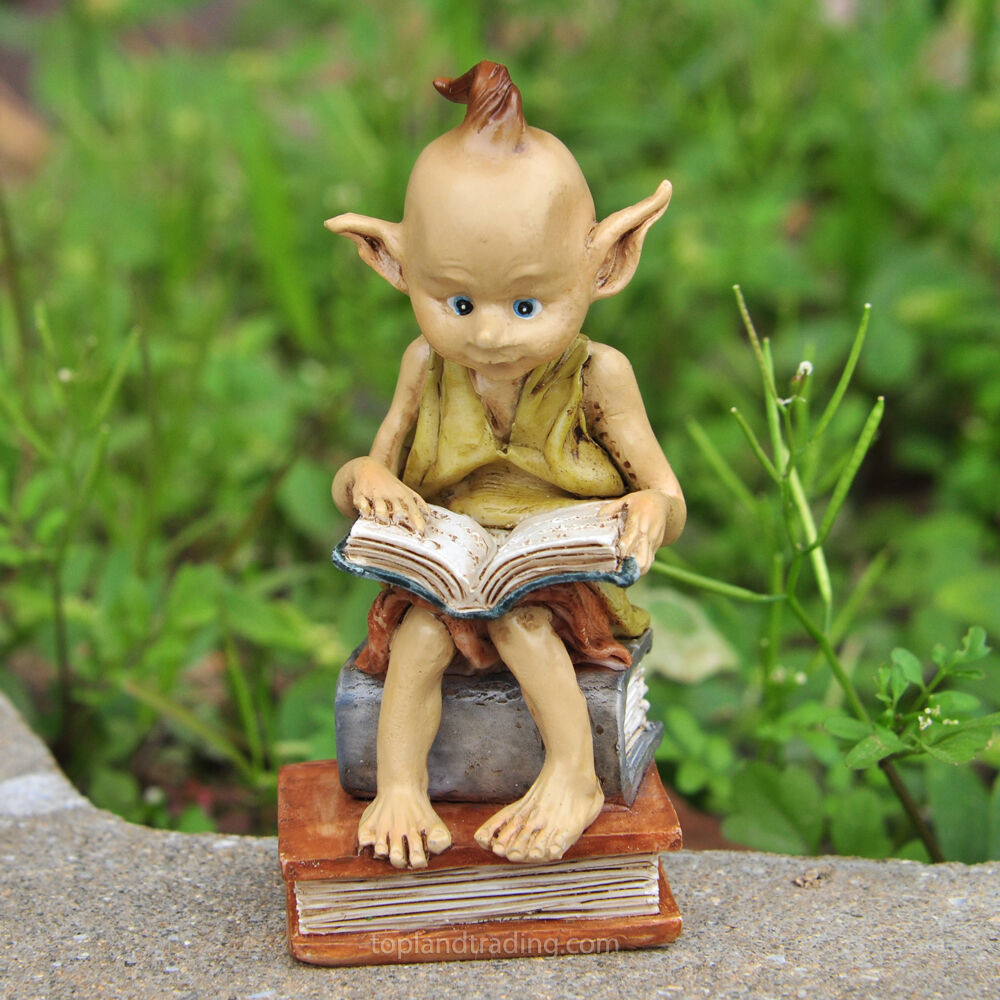 Miniature garden pixie reading a book fairy gnome hobbit Reading fairy garden statue