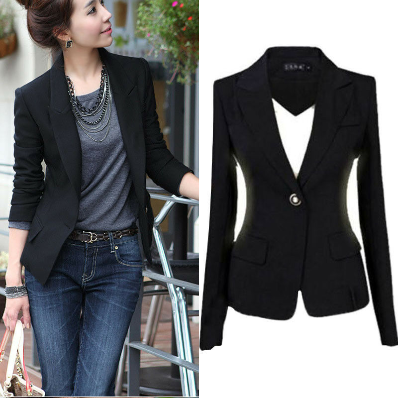NEW Women Slim One Button Short Blazer Suit Jacket Coat ...