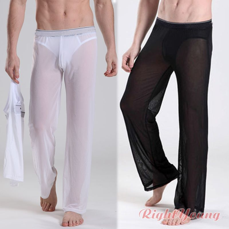Mesh Men Sexy Lounge Sheer See Through Baggy Yoga Sports