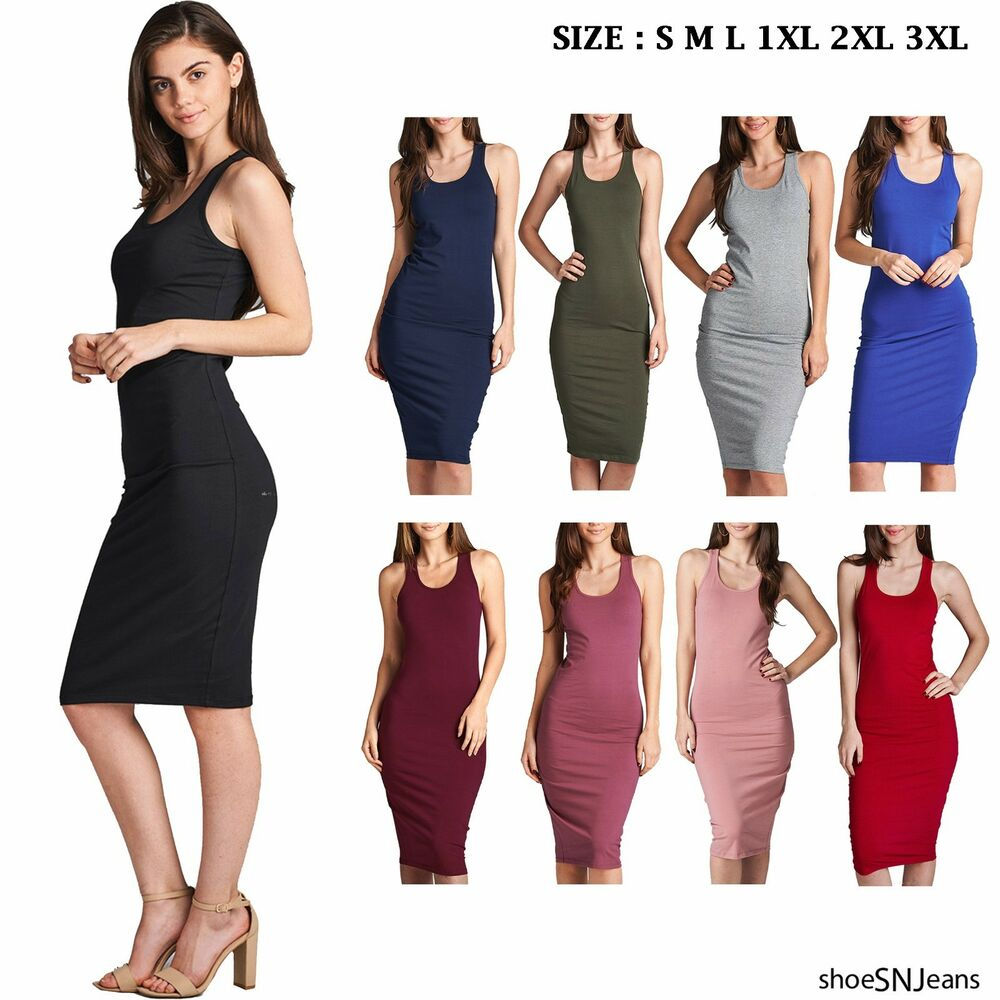 NEW Women Cami Long Tunic Sleeveless Midi Dress Tank Top ...