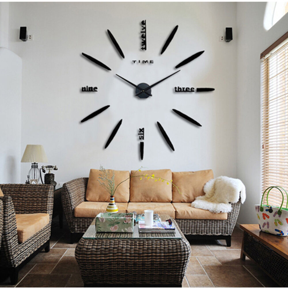 Large Wall Pictures For Living Room: Pretty Large Wall Clock Living Room DIY 3D Home Decoration