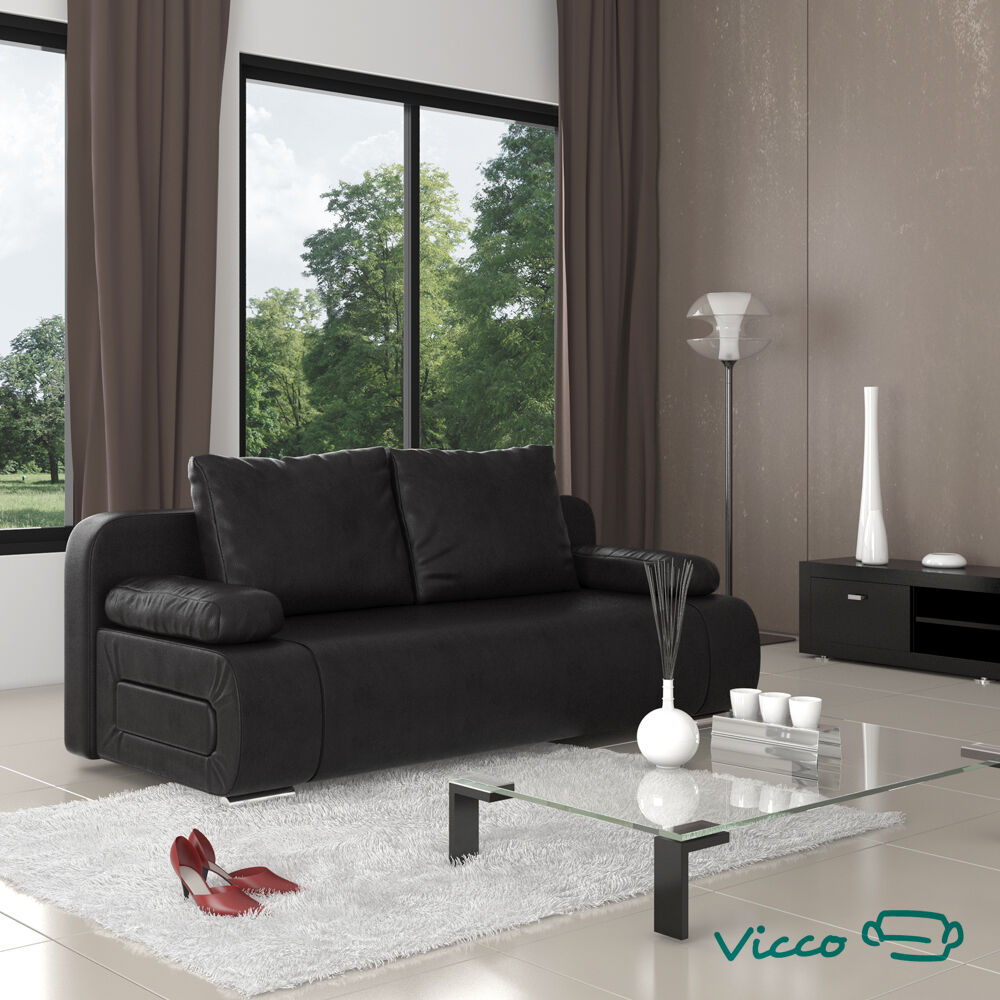 vicco schlafsofa sofa couch ulm federkern schlafcouch pu leder schwarz g stebett ebay. Black Bedroom Furniture Sets. Home Design Ideas