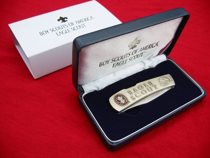Bsa Eagle Scout Pocket Knife With Case Lockback Stainless