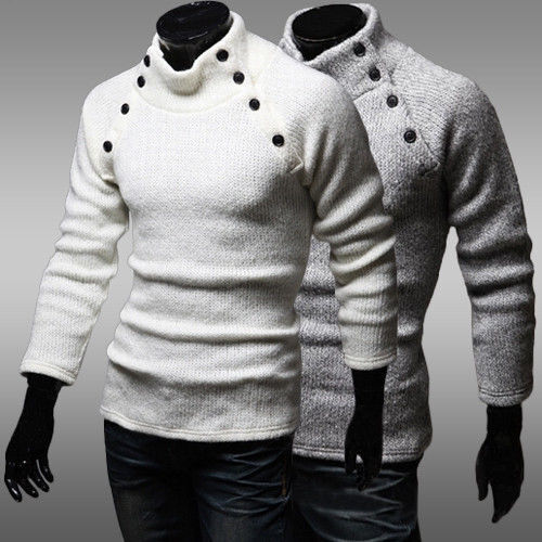 New men 39 s buttoned double sweater shirts decorative collar for Mens sweater collared shirt