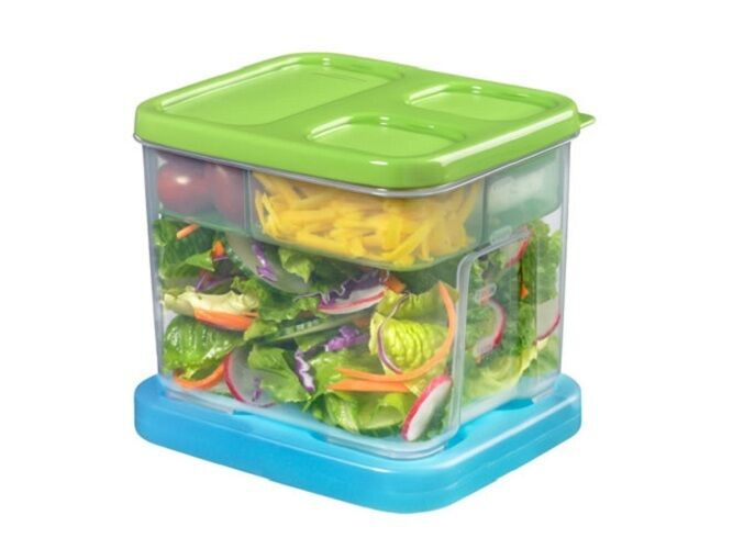 Rubbermaid 7p92 Lunch Blox New Food Storage Salad Kit Set