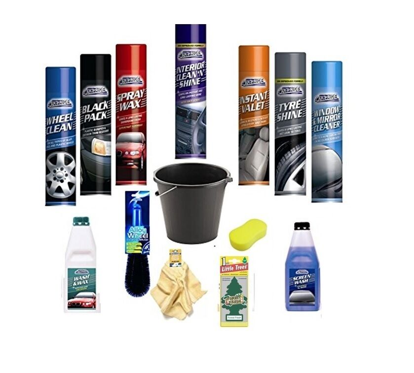 complete car wash cleaning kit interior exterior wash wax polish tyre sponge ebay. Black Bedroom Furniture Sets. Home Design Ideas