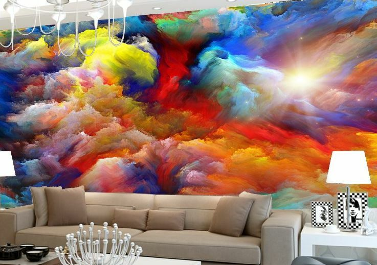 3d collision color painting paper wall print decal wall for Abstract mural designs
