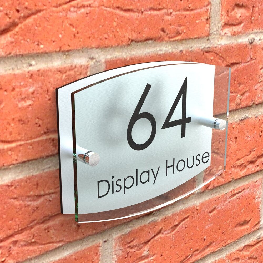 House sign glass effect door number plaque acrylic road for Door name signs