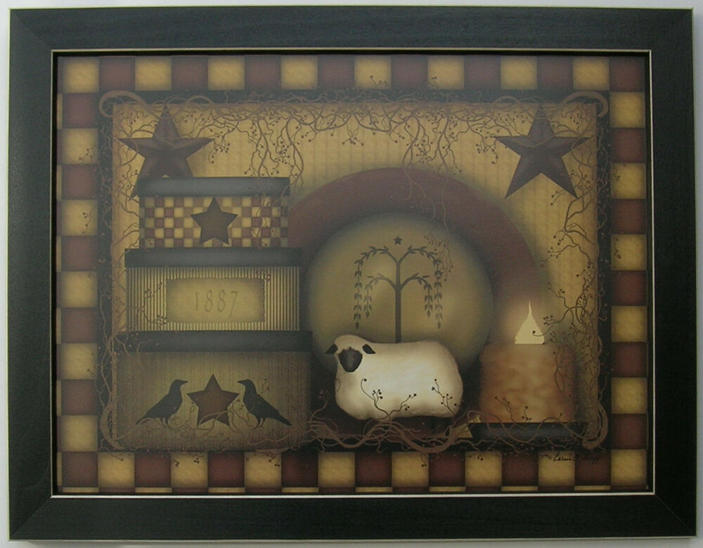 Carrie knoff primitive starberry framed country pictures for Country wall art