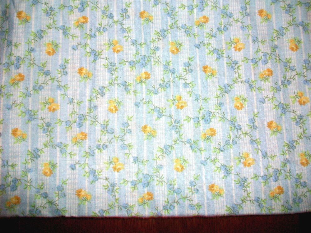 Yellow blue flowers on baby blue cotton quilt fabric ebay for Yellow baby fabric