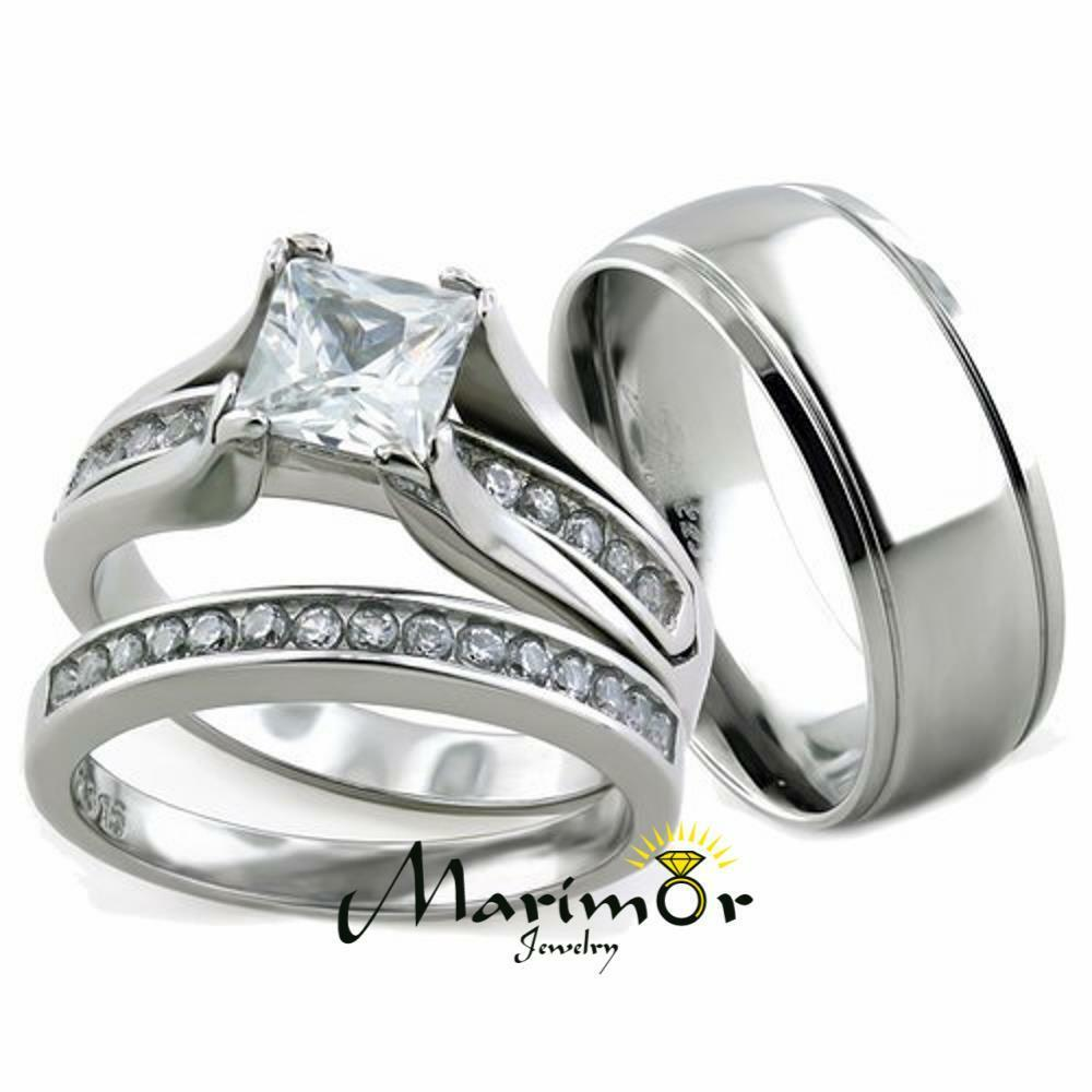 Her his 3pc stainless steel wedding engagement ring for 3pc wedding ring set