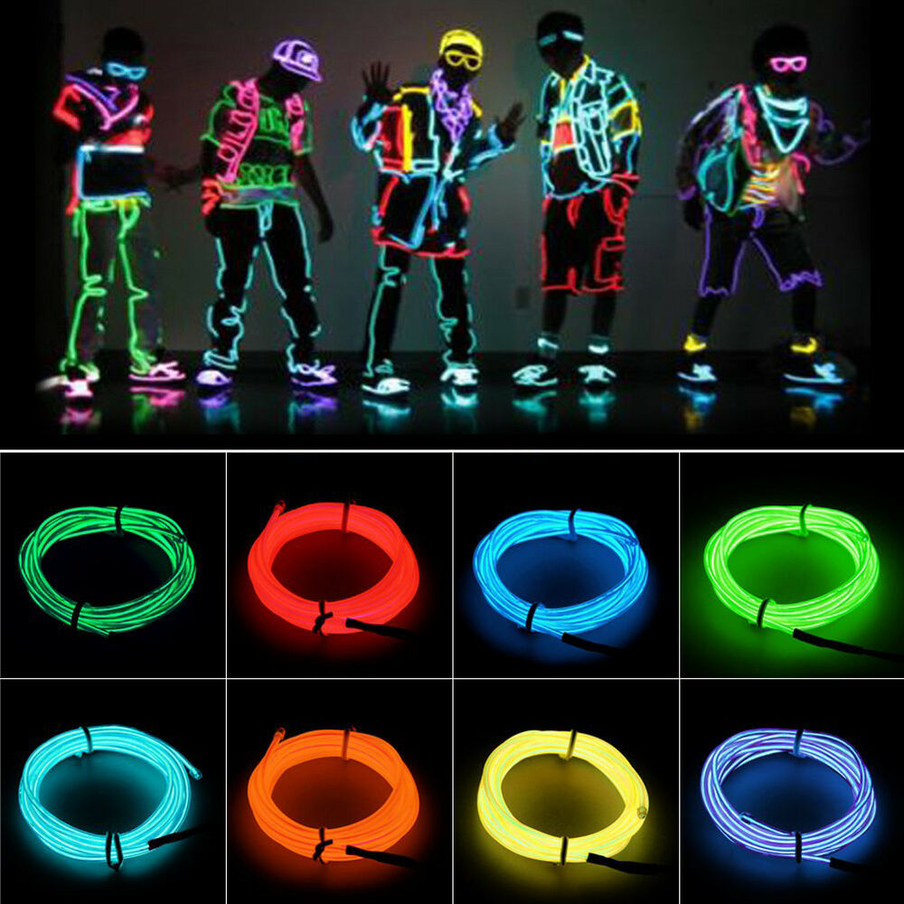 5m 2m 1m flexible el wire neon led light rope party decoration battery powered ebay. Black Bedroom Furniture Sets. Home Design Ideas