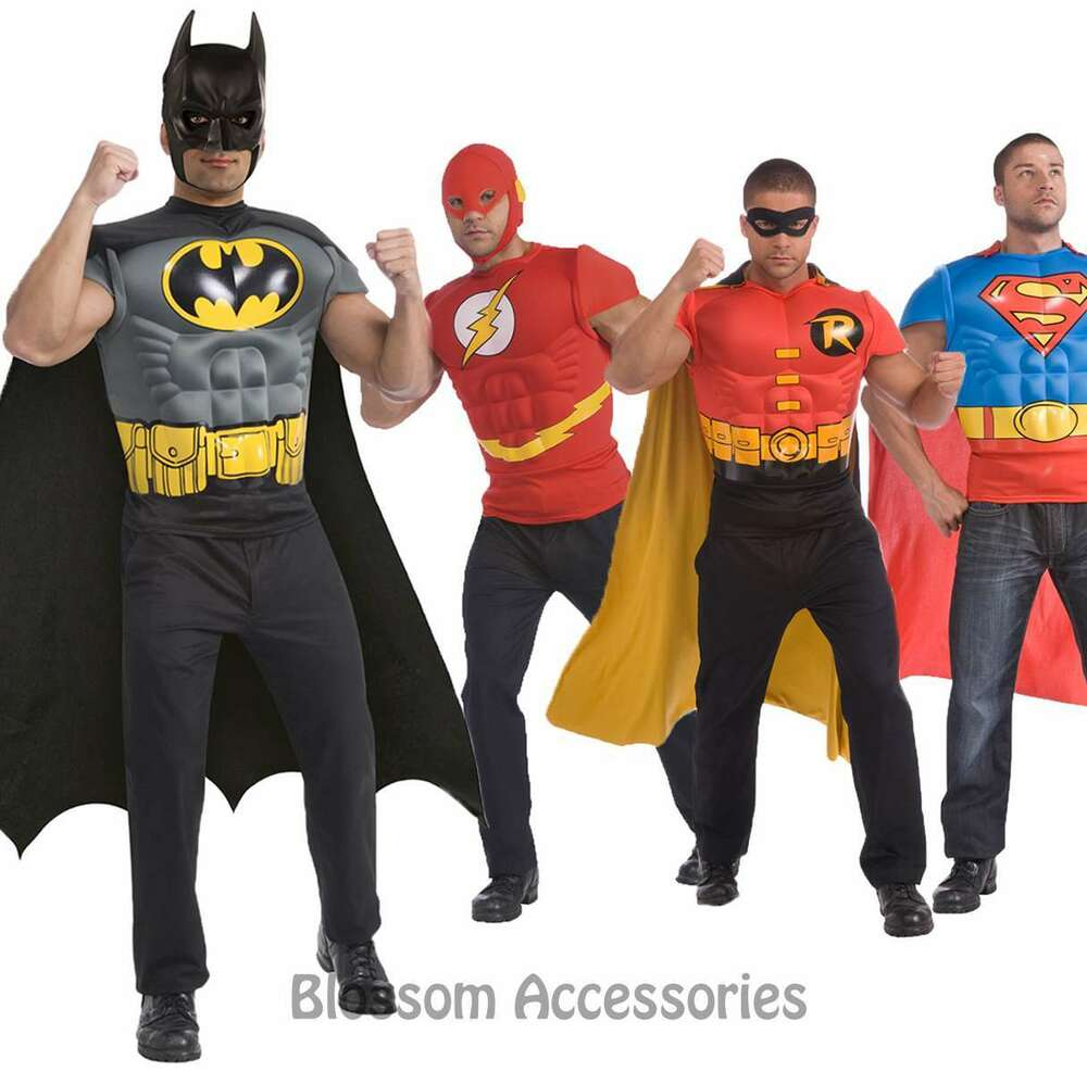 Cl489 Mens Superheroes Batman Robin Superman Flash Muscle