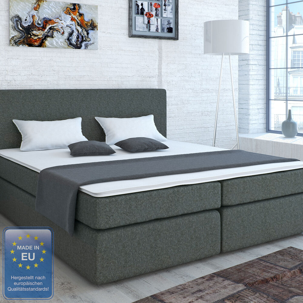 designer boxspringbett bett ehebett doppelbett hotelbett stoff grau 140x200 cm ebay. Black Bedroom Furniture Sets. Home Design Ideas