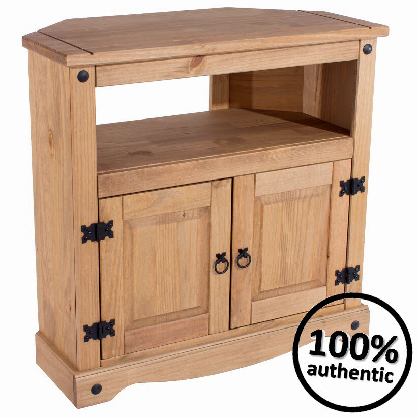 Corona mexican pine corner tv stand unit wooden cabinet for Furniture at the range
