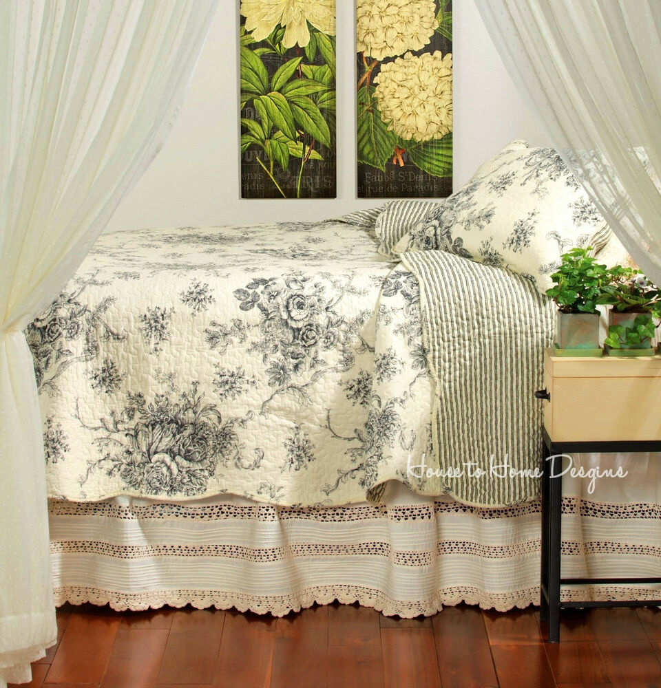 french country black rose king quilt set cottage chic toile shabby cream ebay. Black Bedroom Furniture Sets. Home Design Ideas