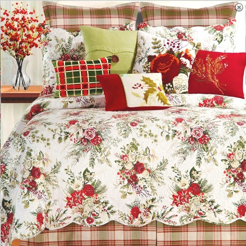 Jardin Rouge Full Queen Quilt Set Cottage Chic Red