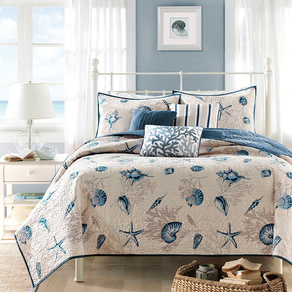 Nautical Bedding King: BLUE SEASHELL 5pc Twin QUILT SET : BEACH HOUSE TROPICAL