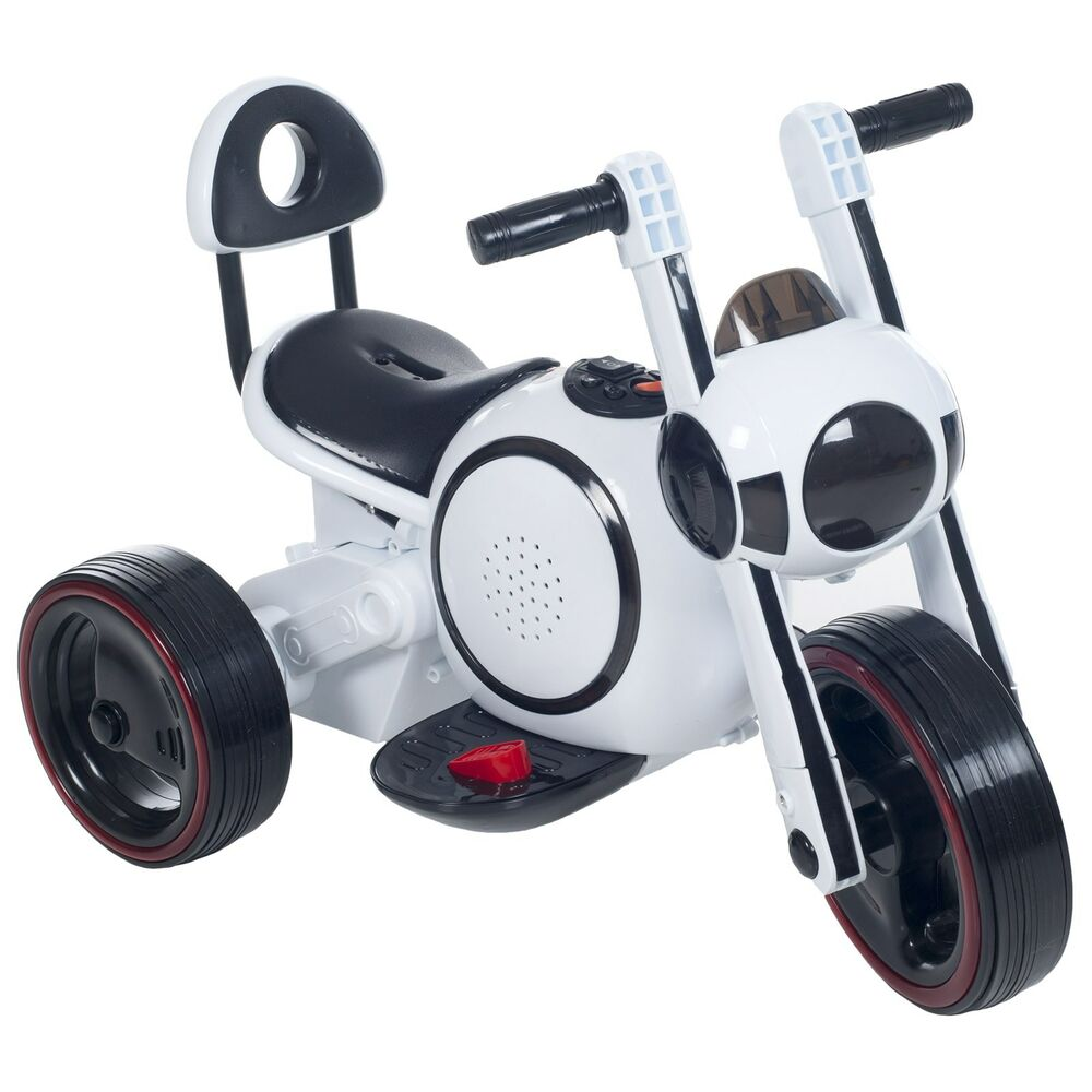 lil rider sleek led space traveler battery operated motorcycle trike white ebay. Black Bedroom Furniture Sets. Home Design Ideas