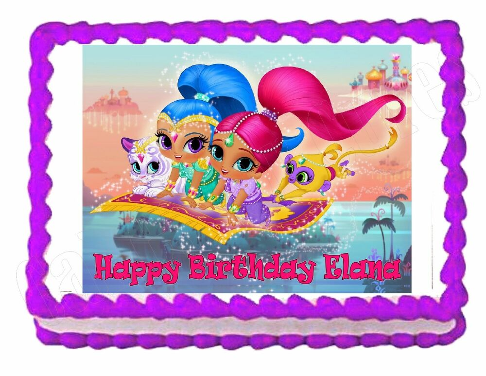 Shimmer And Shine Party Edible Cake Image Cake Topper
