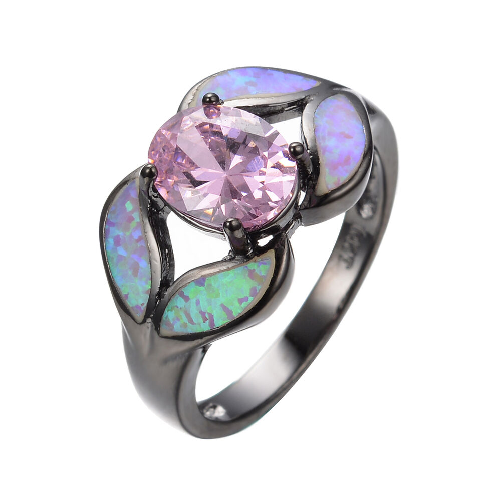 Vintage Leaf Fire Opal Pink Sapphire Wedding Ring 10KT Black Gold Filled Size