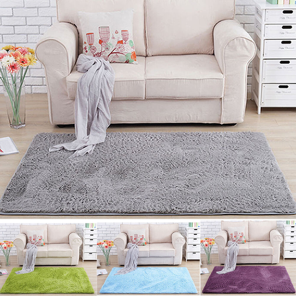 Nice fluffy rug anti slip shaggy area rug dining room for Bedroom rugs