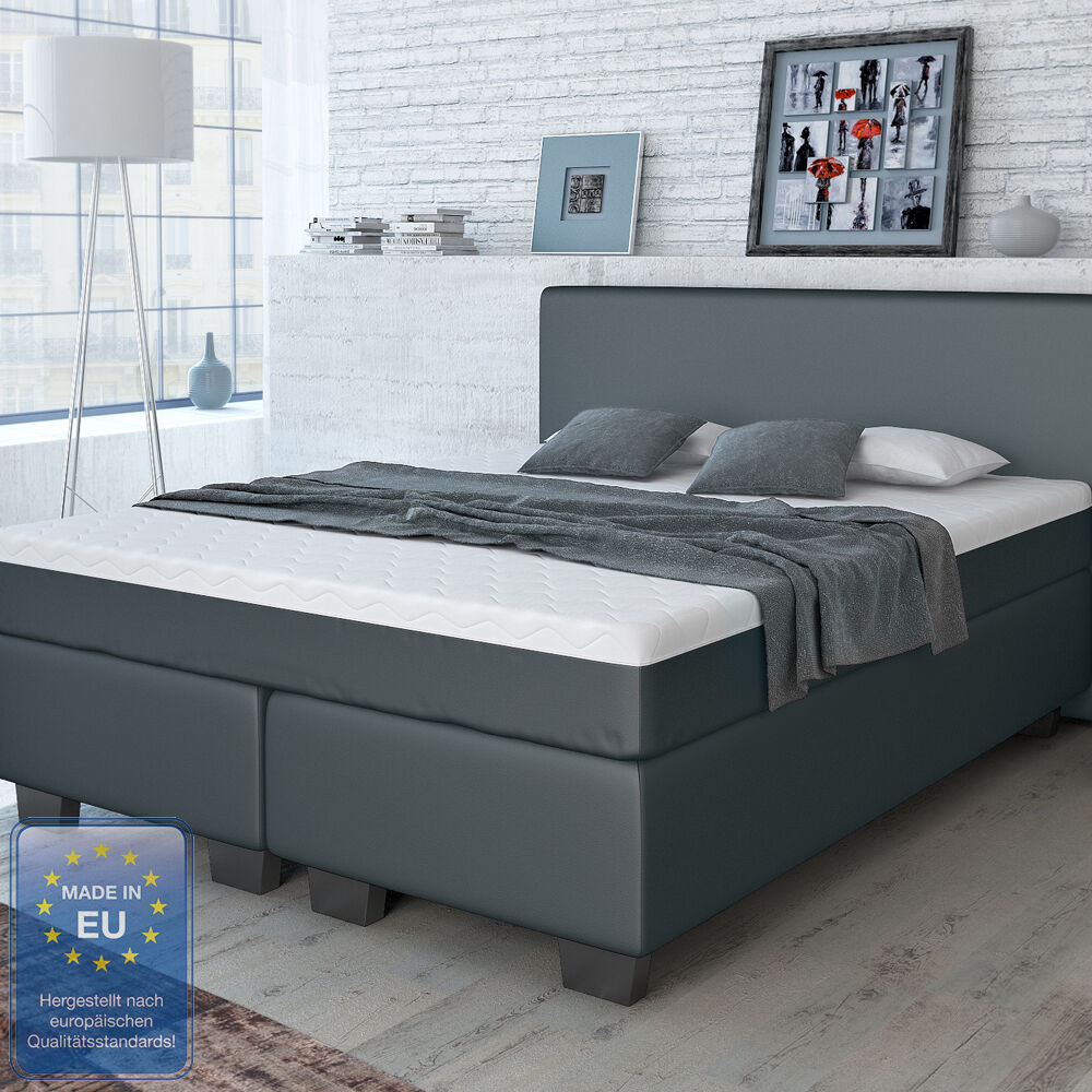 designer boxspringbett bett hotelbett doppelbett kunstleder schwarz 160x200 cm ebay. Black Bedroom Furniture Sets. Home Design Ideas