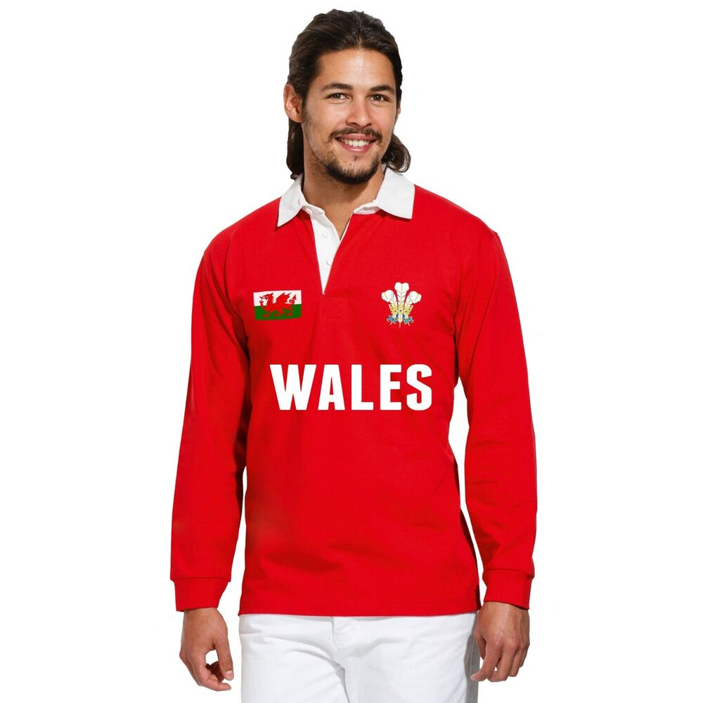 Wales TEXT Rugby Vintage Polo Shirt Cymru World Cup