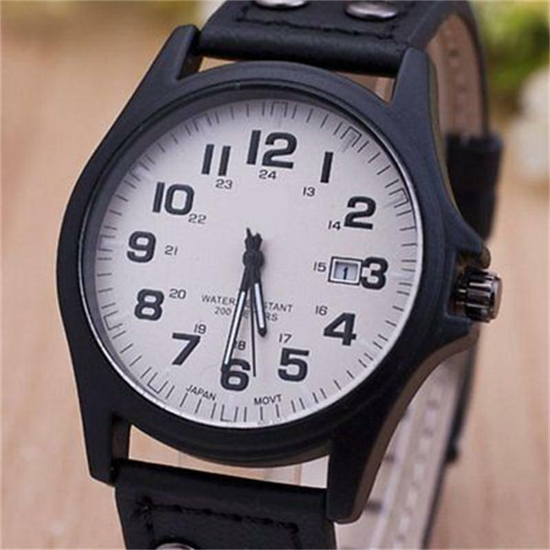 design black leather band vogue quartz wrist