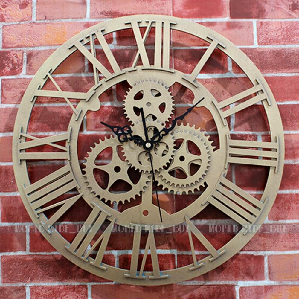 large wall clock mechanical gear vintage mute art golden