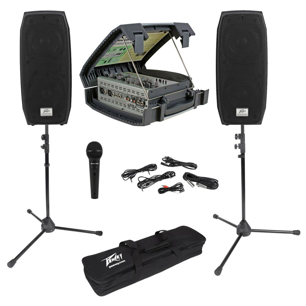 peavey messenger portable collapsable pa system w speakers mic mixer case stands ebay. Black Bedroom Furniture Sets. Home Design Ideas