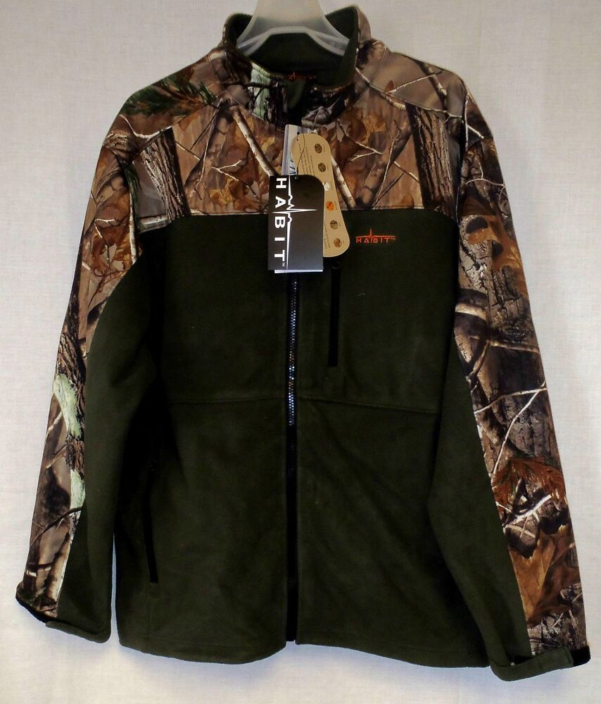 Lg realtree ap camo olive windproof soft shell fleece for Realtree camo flannel shirt